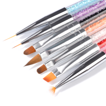 цены Set 7pc Nail Art Brush Rhinestone Handle Uv Gel Polish Nails Tips Dotting Lining Painting Pen 3d Manicure Gradient Brushes New
