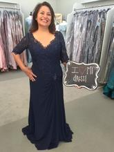 2018 Navy Blue chiffon Long Formal evening party gown V Neck Half Sleeves Lace Pleat vestido novia mother of the bride dresses