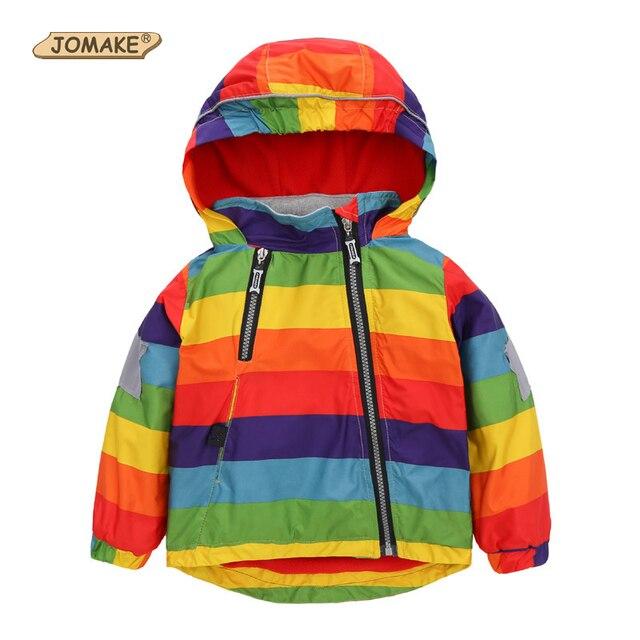 Boys Girls Raincoat Jackets Fashion Cool Bomber Jacket Kids Rainbow Colour Para Meninas Style