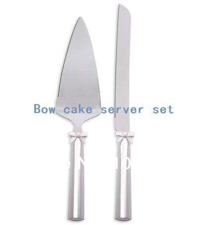 FASHION Themed Metal Handle Wedding Party Cake Knife Server Set Birthday Bow Ornament And Valentines Gift