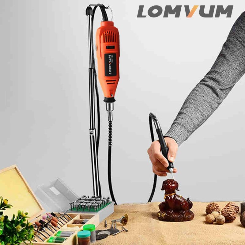 Image 5 - LOMVUM Electric Grinder Dremel Style Mini Drill Rotary Tools Set 350W DIY Grinder 400W 6 Speed Abrasive Tool Engraver Kit ShaftGrinders   -