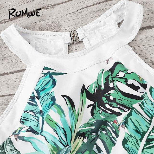 Romwe Спорт джунгли лист Монокини купальные костюмы с вырезами сбоку сдельная пляжная одежда купальник женский летний сексуальный купальный ... 2