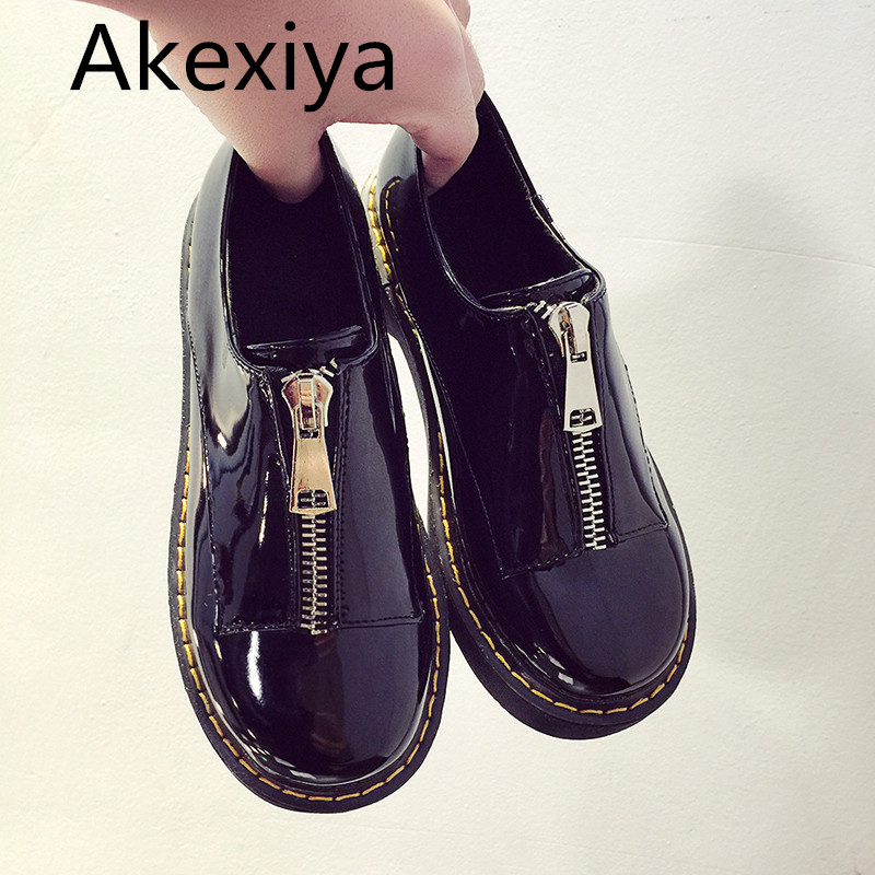 Akexiya New Spring zip women's platform shoes solid oxford shoes for women round toe casual shoes woman vintage creepers female phyanic 2017 gladiator sandals gold silver shoes woman summer platform wedges glitters creepers casual women shoes phy3323