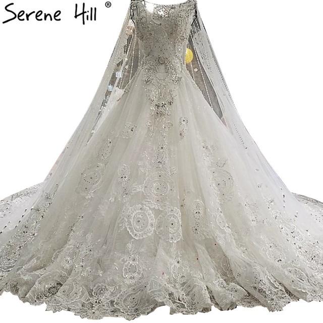 New High-end Sleeveless Shawl Yarn Bridal Dresses 2018 Diamond Pearls  Princesse Luxury Ball Gowns Vestido De Noiva b5f933e74263