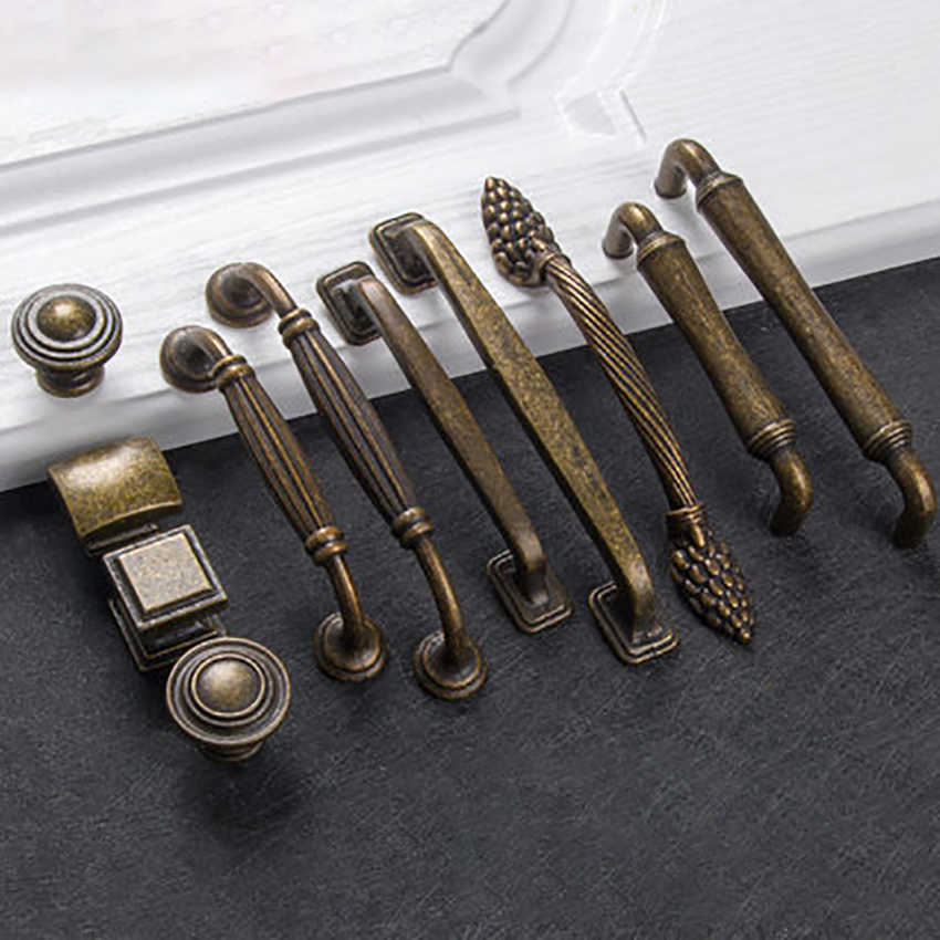 European Bronze Cabinet Pulls Home Decor Hardware Antique Furniture Handle Knobs for Cupboard Drawer Wardrobe Door Multi-type