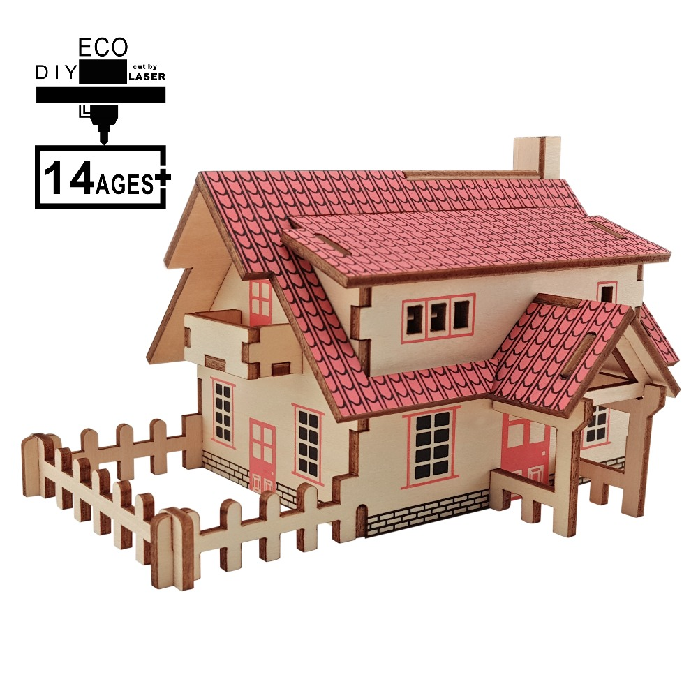 Small House DIY 3D Mode House Toys Romantic House Wood Puzzles Education Toy Model Building Wooden 3D Puzzle For Kids And Adults