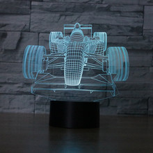 Color changing Flashing touch sensor control F1 Automobile Racing Acrylic 3D LED Night Light Car  USB table Lamps