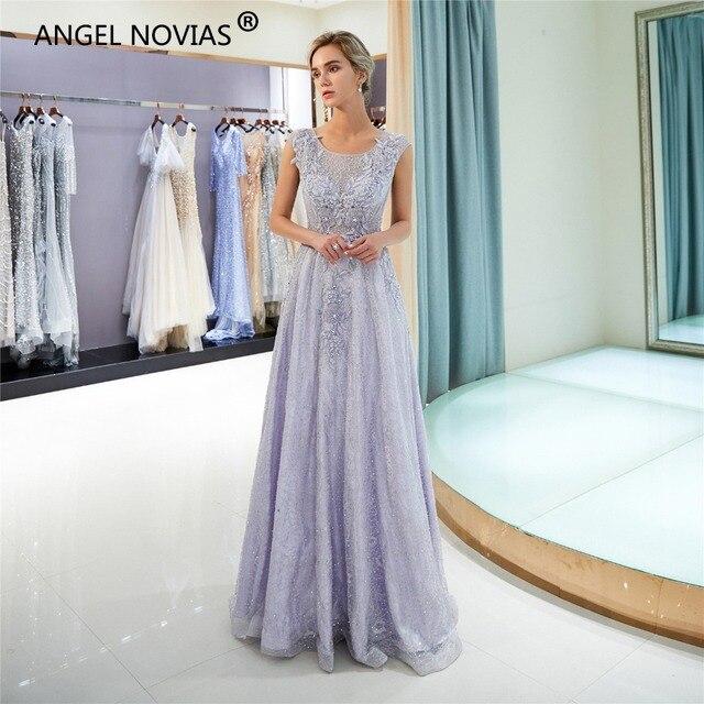 ANGEL NOVIAS Long Elegant Light Lavender Woman Lace Evening Dress 2018  Arabic Dubai Formal Ladies Evening Gowns 4e4f805b2e49