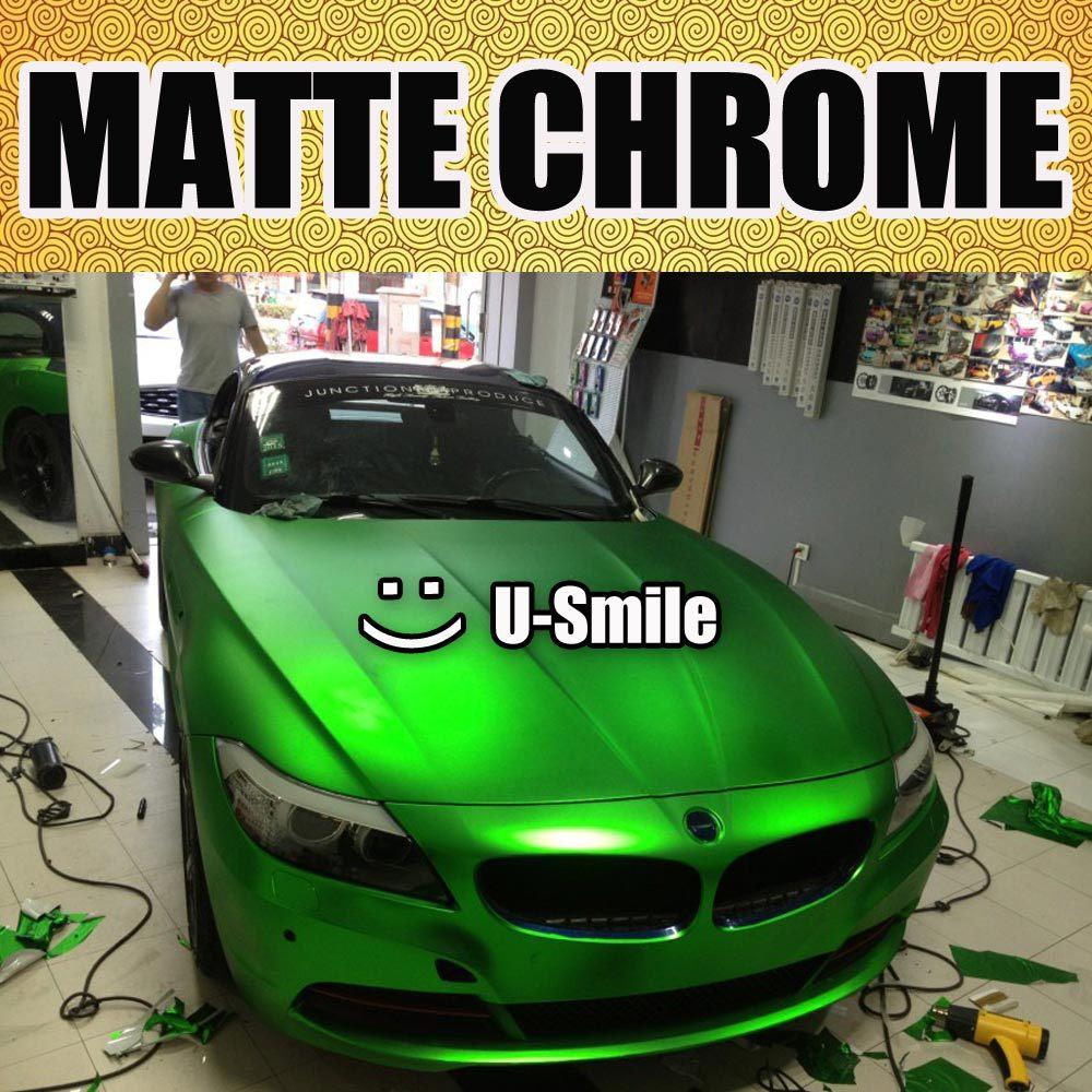 Apple Green Matte Chrome Car Film Matt Chrome Green Car Wrap Matt Chrome Green Car Vinyl Air Free Vehicle Wraps Size:1.52M x 20M nl6 green matte silver