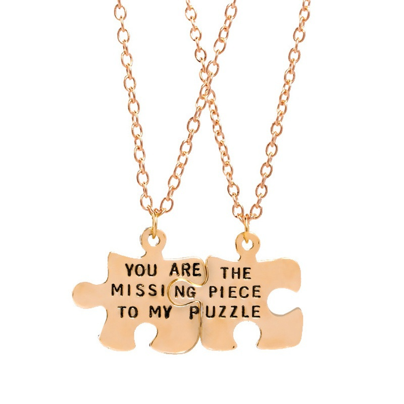 Interlocking Jigsaw Puzzle BFF Necklace For 2 Stitching Best friends Necklaces You are the missing piece to my puzzle Necklace image