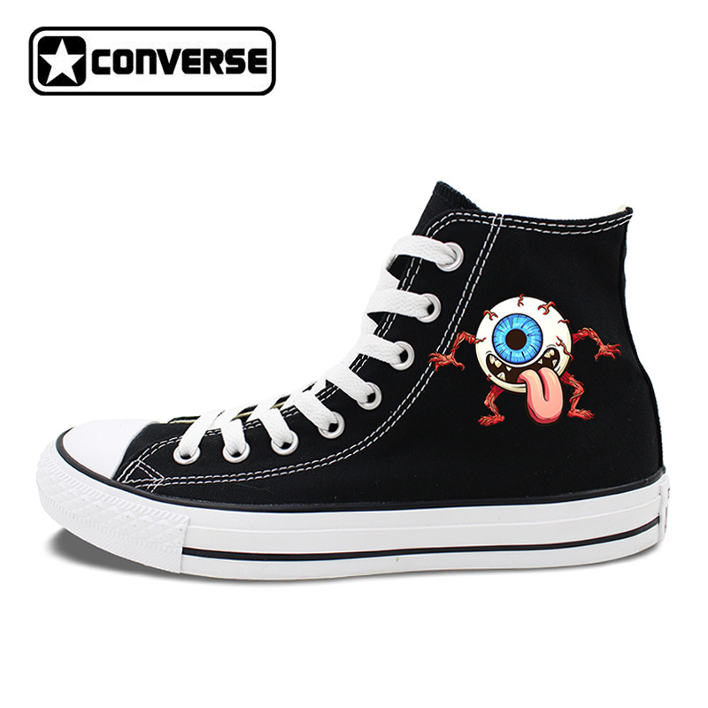 Eye Ball Monster Original Design Converse Chuck Taylor Black White 2 Colors High Top Canvas Sneakers Unisex Skateboarding Shoes