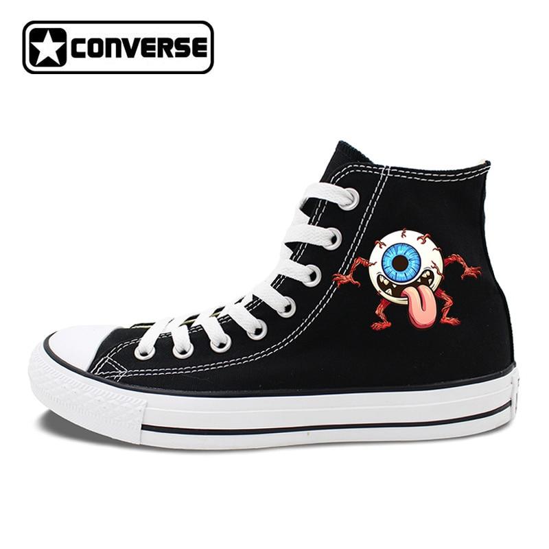 Eye Ball Monster Original Design Converse Chuck Taylor Black White 2 Colors High Top Canvas Sneakers Unisex Skateboarding Shoes