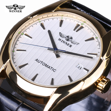 WINNER Mens Watches Vintage Relojes Leather Black Mechanical Wrist Watches Sports Ccasual Top Brand Luxury Automatic watch