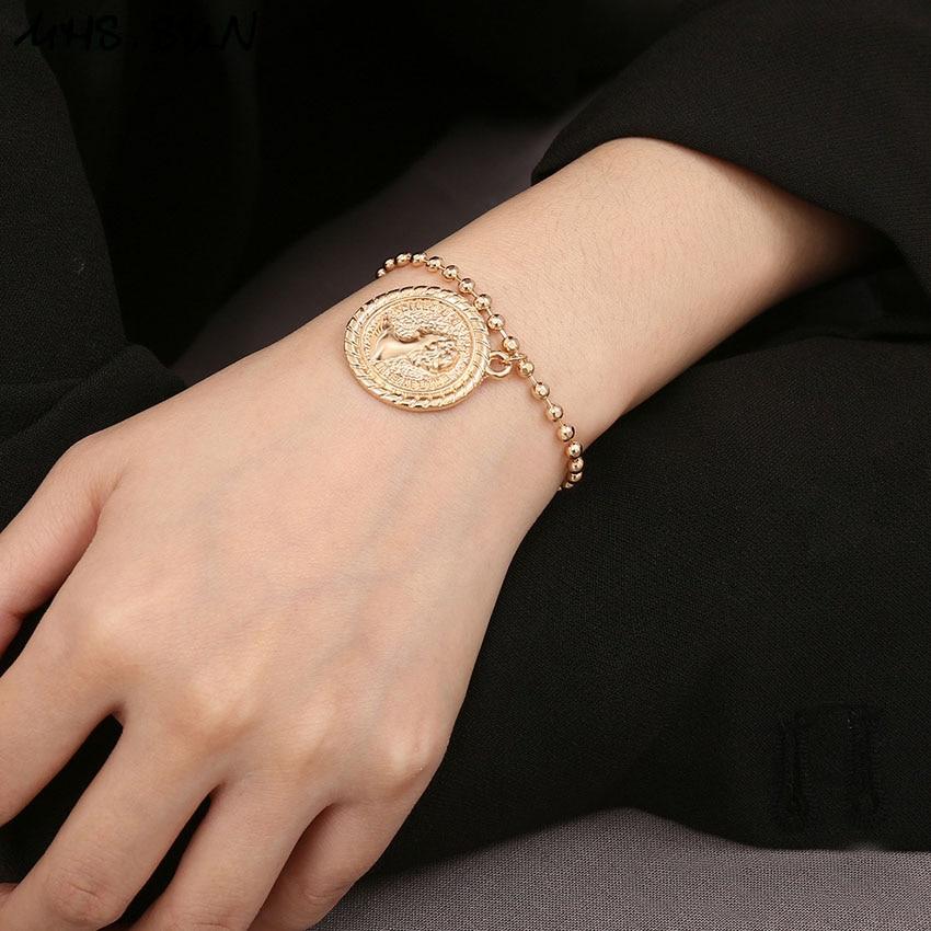 31 (8) Fashion Pendants Women Bracelets Bangles Gold Color Vintage Girls Bracelets Contracted Design Feamle All-Match Jewelry