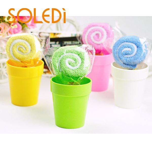 2015 Hot New Cute MINI Lollipop Baby Washcloth Hand Towel Party Wedding Xmas Gift Randomly Colorful