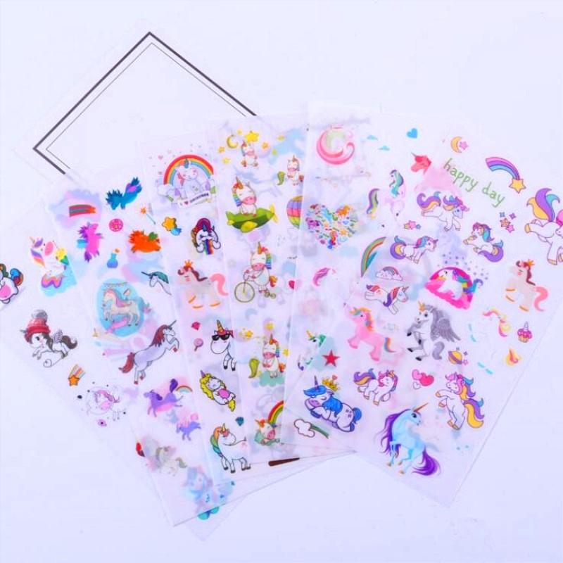 6Pcs Unicorn Sticker Cute Anime Children's Toys Cartoon Stickers For DIY Mobile Phone Laptop Decoration Pegatinas