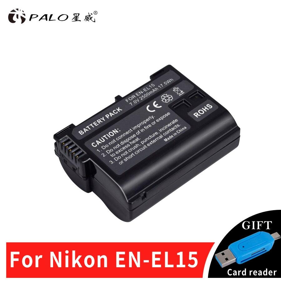 PALO 1PCS Fully-decoded EN-EL15 EN EL15 EL15 Camera Battery For Nikon D600 D610 D800 D800E D810 D7000 D7100 D7200 V1 Battery
