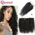 Перуанский Глубокая Волна С Закрытием Queen Hair Products Волосы Связки С Закрытием Перуанский Глубокая Волна Девственные Волосы С Lace Closure