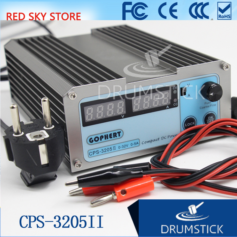 GOPHERT CPS-3205 II 0-30V-32V Adjustable DC Switching Power Supply 5A 160W SMPS Switchable AC 110V (95V-132V) / 220V (198V-264V) cps 6011 60v 11a digital adjustable dc power supply laboratory power supply cps6011