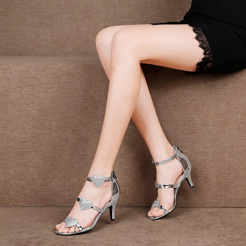 รองเท้าแตะฤดูร้อนรองเท้าผู้หญิงรองเท้าแตะ Rhinestone รองเท้าแตะเงินรองเท้าบางส้นซิป-ใน รองเท้าส้นสูง จาก รองเท้า บน   2