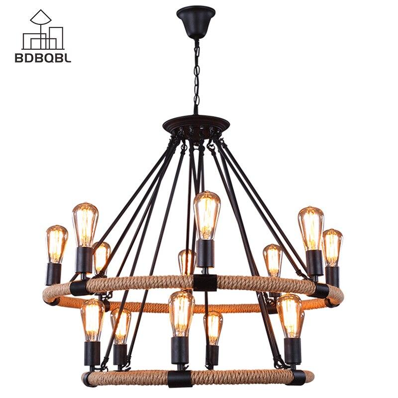 BDBQBL Vintage E27 titulaire pendentif lumières 6/8/14 têtes chanvre corde fer suspension lampe pour la décoration de la maison luminaires industriels
