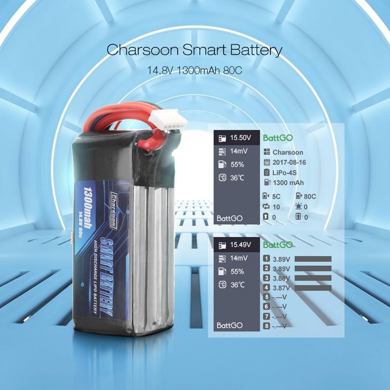 Charsoon BattGo 14.8V 1300mah 80C 4S Smart Lipo Battery Rechargeable XT60 Plug Connector For ISDT Linker BG-8S T8 Charger RC Toy 1s 2s 3s 4s 5s 6s 7s 8s lipo battery balance connector for rc model battery esc
