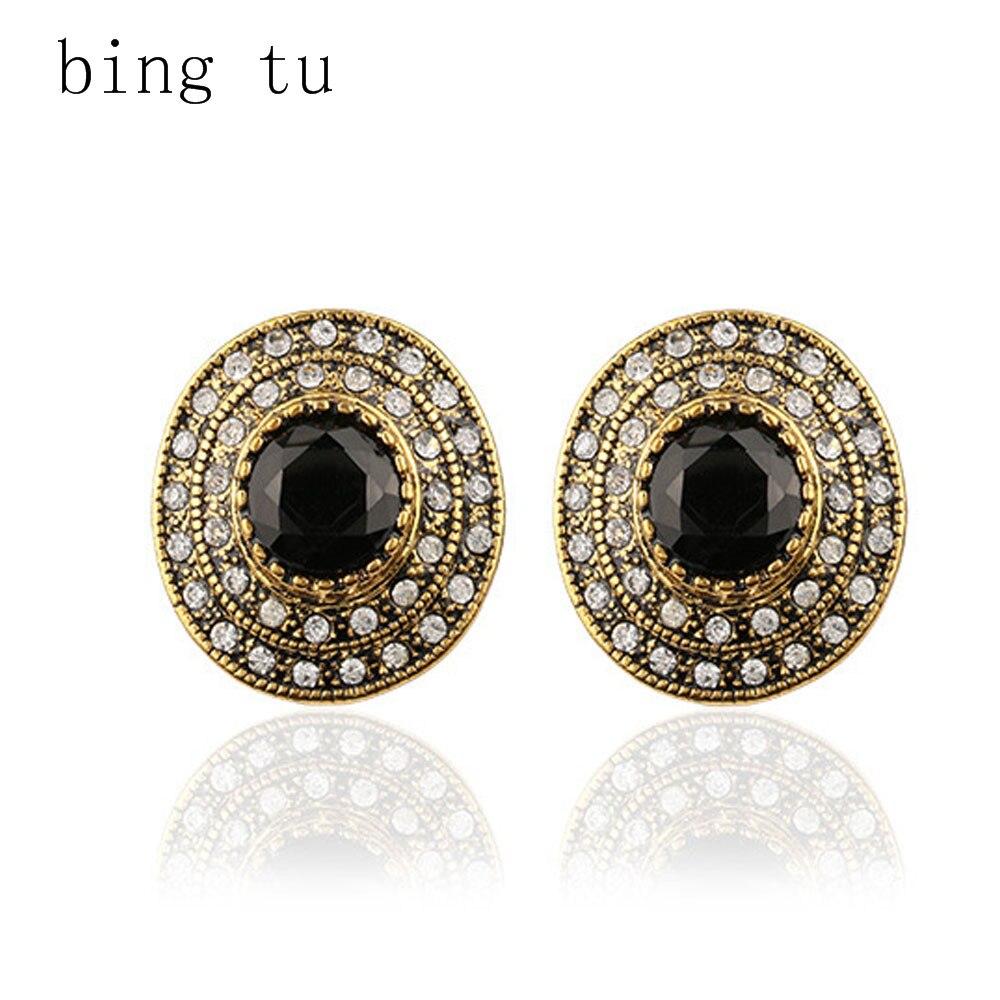 Bing Tu Vintage Black Round Crystal Zircon Hoop Earrings For Women European  Girls Costume Jewelry Gift