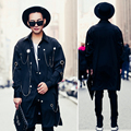 2017 men long sleeve shirt fashion show punk hiphop style metal pendant casual shirt male loose long dress shirt stage clothing