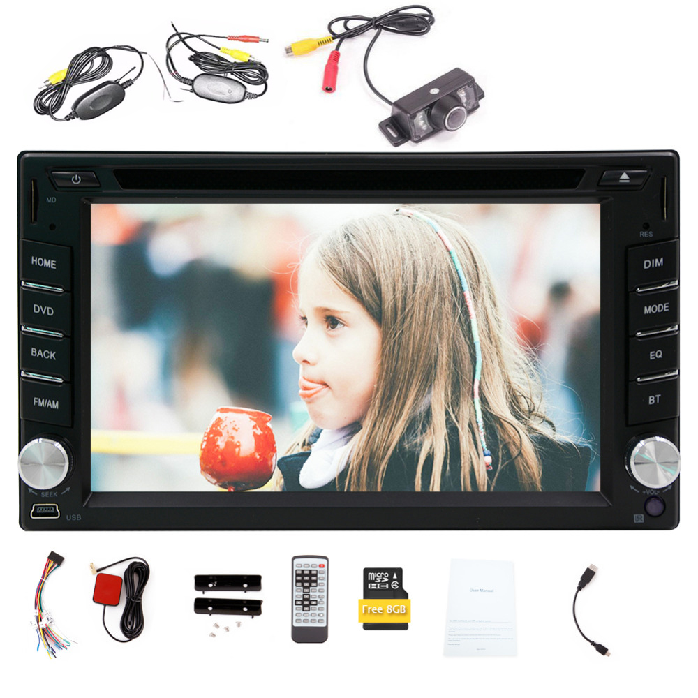 Wince 6.0 double din 6.2 inch car dvd gps player 8GB GPS Navigation in dash universal Bluetooth FM AM radio+free wireless camera 6 2 inch universal double din car gps navigation in dash gps car dvd player fm am usb sd bluetooth radio navigation car stereo