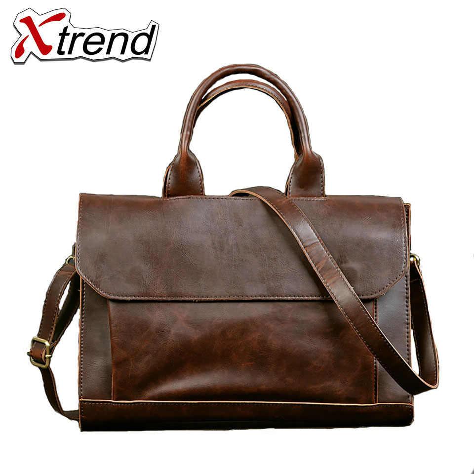 f629a5f790 Xtrend 2018 men's briefcase Business Shoulder Bag PU Leather Messenger Bags  Computer Laptop Handbag Bag Men's