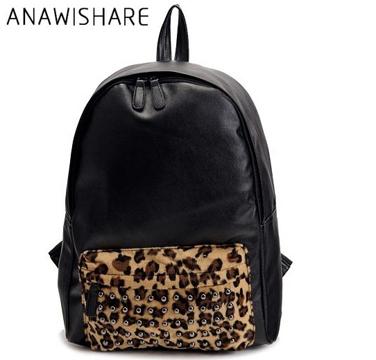 ANAWISHARE rivet women backpack leopard print shoulder bag punk school bags  for teenagers girl travel backpack 4c3faab398d21
