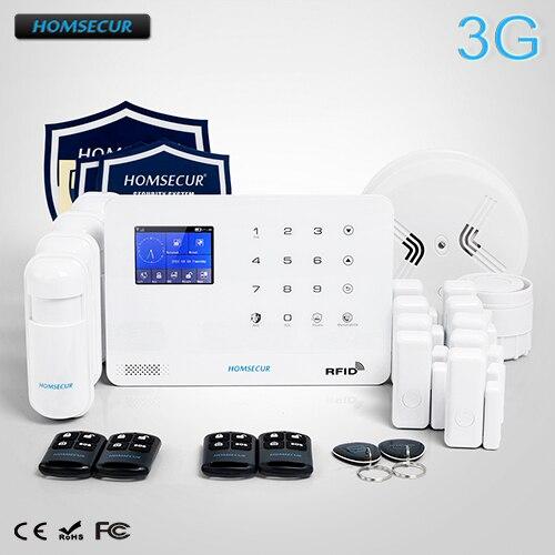 HOMSECUR Sans Fil LCD 3G/système d'alarme sécurité à domicile gsm + 4 * PIR + capteur de porte + détecteur de fumée LA02-3G