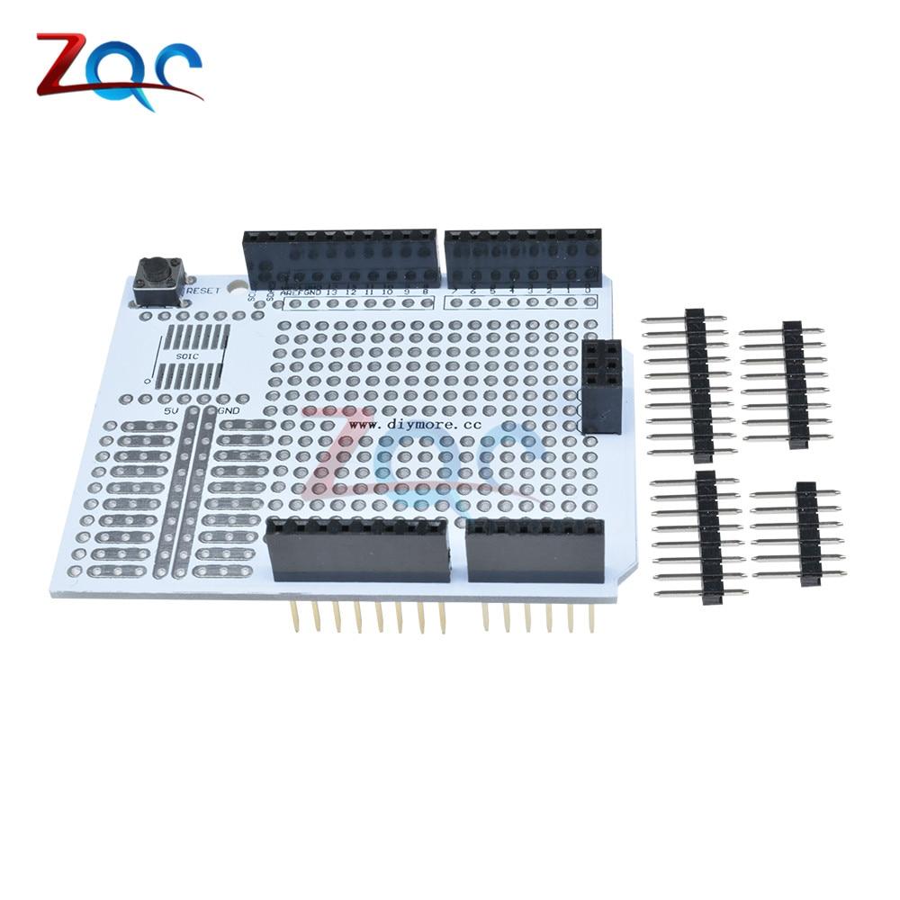 For Arduino UNO R3 Prototype PCB Development Bread Board Expansion Shield Board Breadboard Protoshield Module One Diy Kit 2.54mm protoshield expansion board with mini bread board for arduino