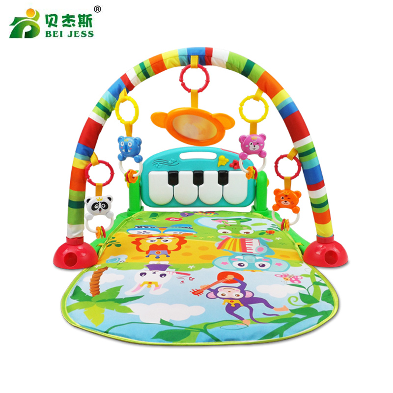 BEI JESS Baby Carpet 3 in 1 Multifunctional Piano Develop Crawling Musical Projection Play Mat Child Education Racks Toy