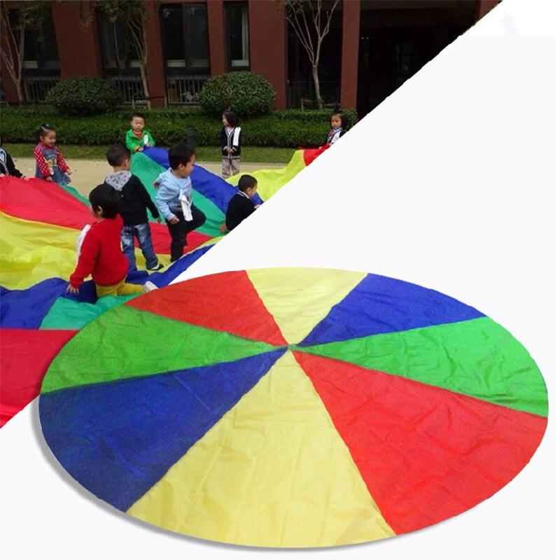 1 Pc 2m Child Kids Sports Development Outdoor Rainbow Umbrella Parachute Toy Jump-sack Ballute Play Parachute