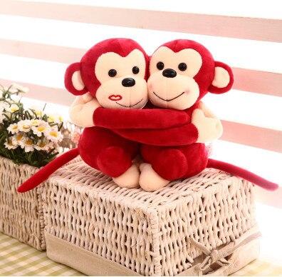 20cm lovely couple hug monkey plush toy, sweetheart monkey stuffed animal, monkey toys doll pillow wedding gift