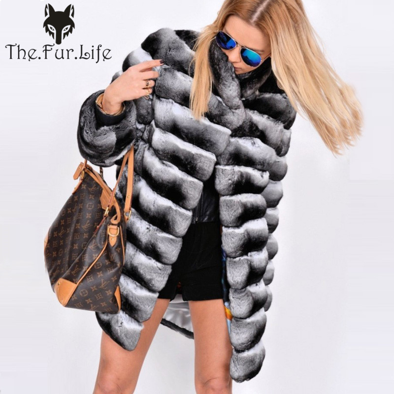 2018 New Natural Real Rex Rabbit Fur Coat Ladies Chinchilla Color Luxury Warm Thick Genuine Fur Long Jackets Wholesale For Women