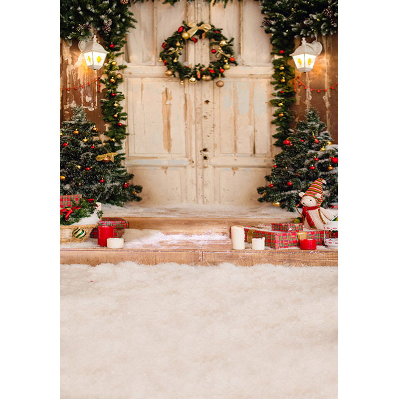 5X7ft Vintage wooden door Vinyl Photography Background Christmas tree and Gift box Gallery Backdrops for Photo Studio s-2105 christmas background pictures vinyl tree wreath gift window child photocall fairy tale wonderland camera photo studio backdrop