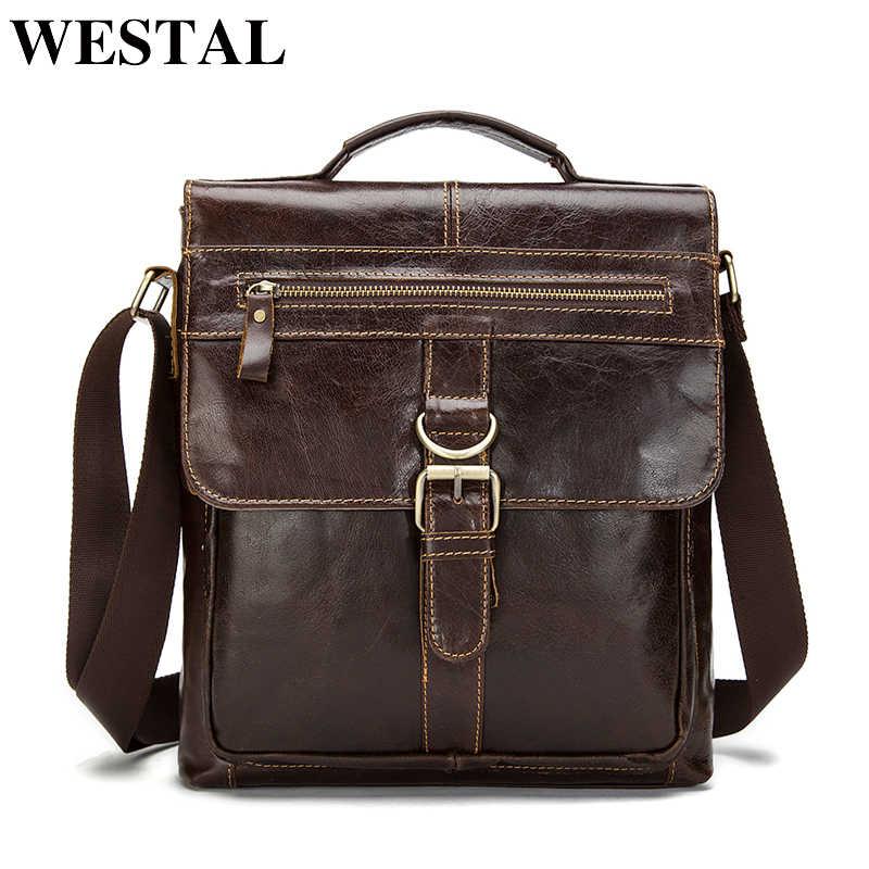 3df4c4c785e5 WESTAL многоцелевая повседневная сумка мужская натуральная кожа конструктор кожаная  сумка через плечо мужские сумки мешок портфель