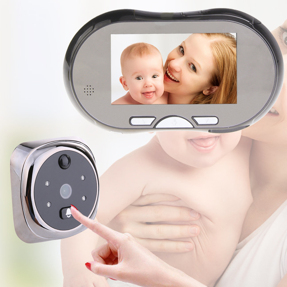 4.3 LCD Touch Screen 160 Degree HD Peephole Viewer Night Vision Door Eye Digital Doorbell Camera Automatic Video Record EU Plug hd sony 700tvl 960h cat eye door hole