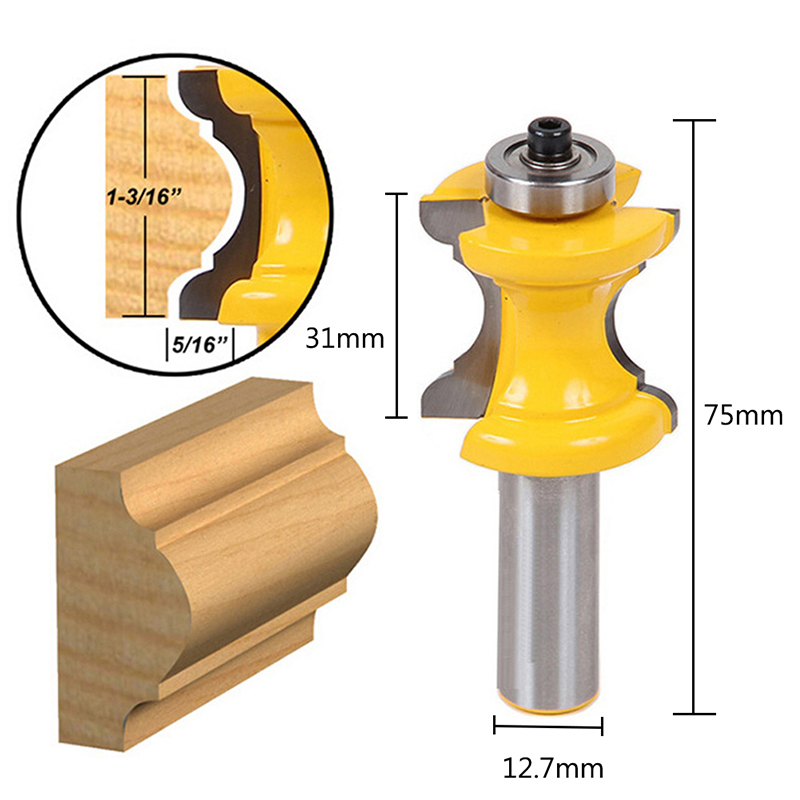 1PC 1/2'' Shank Bullnose with Bead Column Face Molding Router Bit Woodworking Tool face molding router bit 1 2 inch shank large triple bead column woodworking tenon tool
