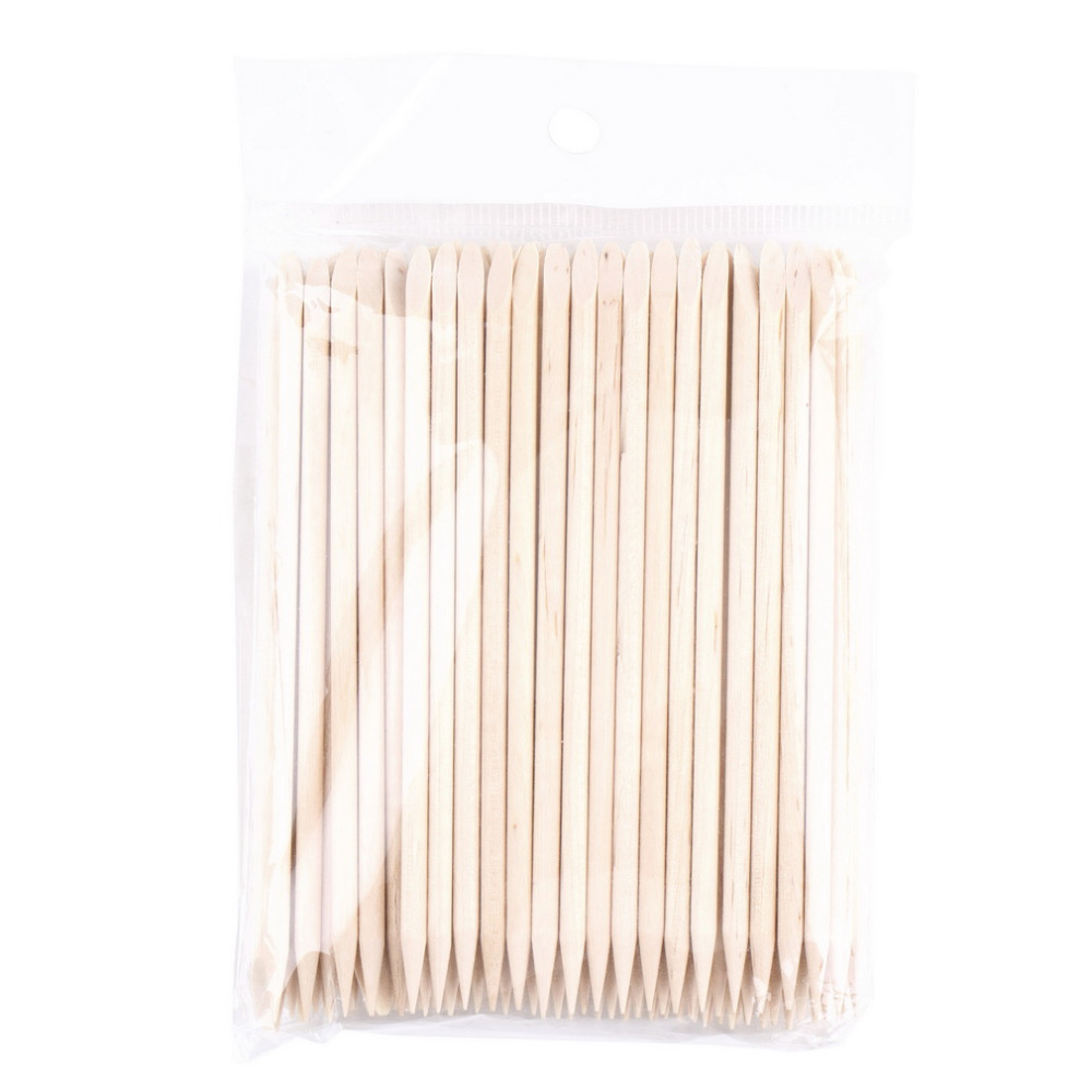 100Pcs Orange Wood Sticks Nail Art Care Salon Cuticle Pusher Remover Manicure Tool Double Sided Stick