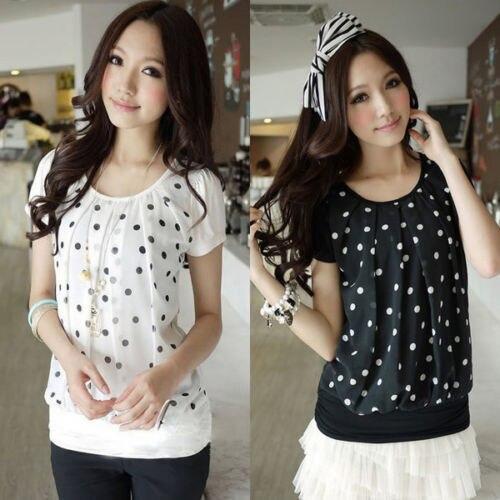 2e63207e47a7 Women Polka Dots Blouse Ladies Short Sleeve shirt Girl Chiffon Top Black/ White