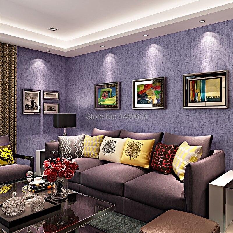 ФОТО Korean non-woven wallpaper plain solid color purple linen wallpaper bedroom living room TV backdrop wallpaper