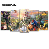 ZOOYA 5D DIY Diamond Embroidery Beauty Beast 5pcs Multi picture Combination Diamond Painting Cross Stitch Rhinestone Decor BK263