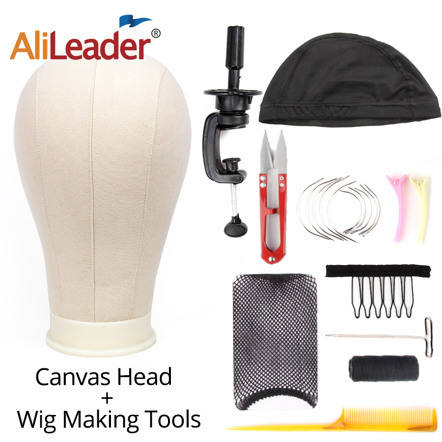 AliLeader 11 PCS Wig Making Kit Canvas Block Head With Stand Mannequin Head Diy Dome Wig Cap Combs Needles T pins Thread Clamp image