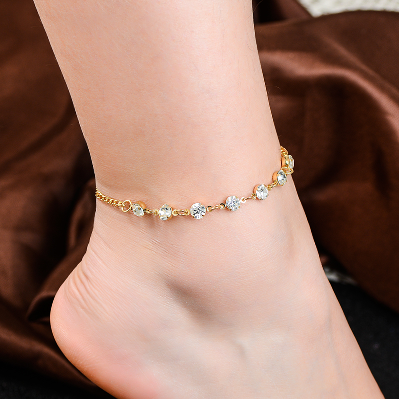 SHUANGR Hot Sale Fashion Crystal Anklets For Women Gold and Sliver Colors Chain Anklets Beautiful Foot Jewelry Party Gift