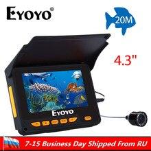 """Eyoyo ледовая Рыбалка 20 М HD 1000TVL подводная камера для подледной рыбалки 4,"""" монитор рыболокатор видеокамера для зимней рыбалки Fishfinder"""