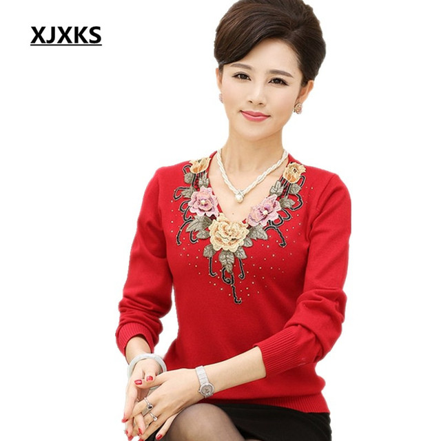 XJXKS new women s sweater 2017 spring basic shirt long-sleeve knitted wool  sweaters embroidery mother clothing 7d999cacc