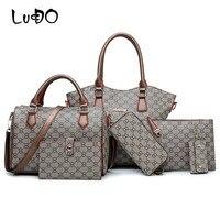 LUCDO 6PCS Women Composite Bags Luxury Handbags Female Crossbody Shoulder Bag Ladies Money Purse Wallets Key Chain Holder Bags